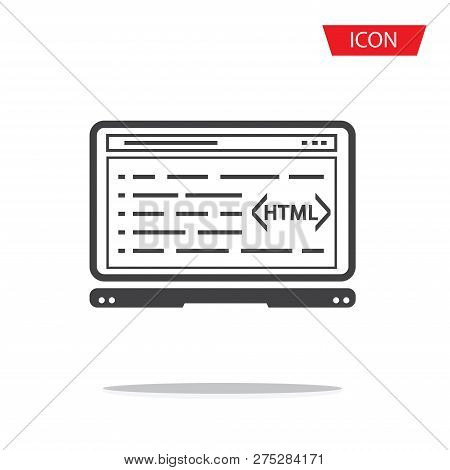 Html Coding, Programming Isolated Vector Icon On White Background.