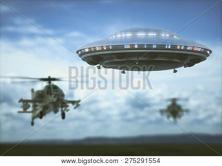 Military Helicopters Intercepting An Unidentified Flying Object. Concept Image Of Non-pacific Invasi