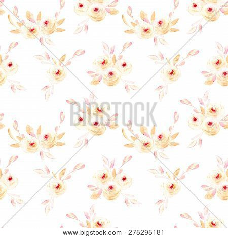 Seamless Floral Pattern With Pink Watercolor Flower Posies, Hand-painted On A White Background