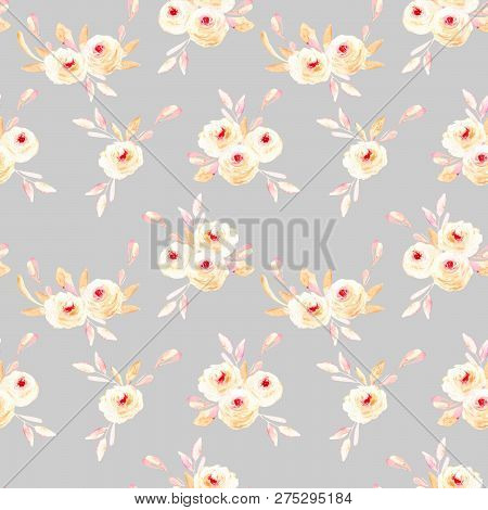 Seamless Floral Pattern With Pink Watercolor Flower Posies, Hand-painted On A Grey Background