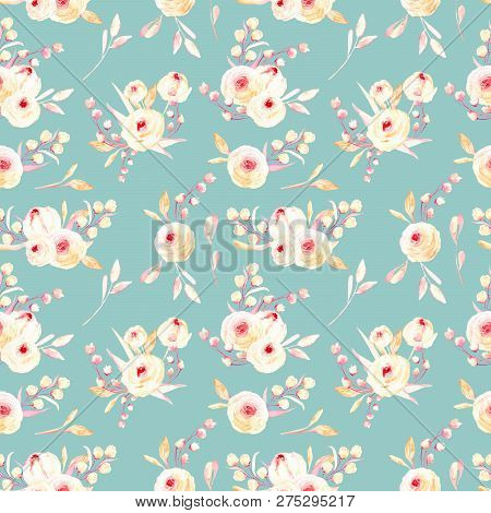 Seamless Floral Pattern With Pink Watercolor Flower Posies, Hand-painted On A Turquoise Background