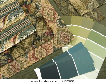 Blueish Green Print Interior Design Plan