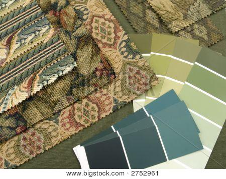 Blueish Green Print Interior Design Plan