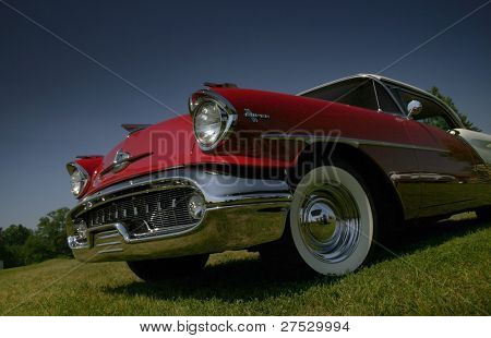 Old time American muscle car wide angle shot