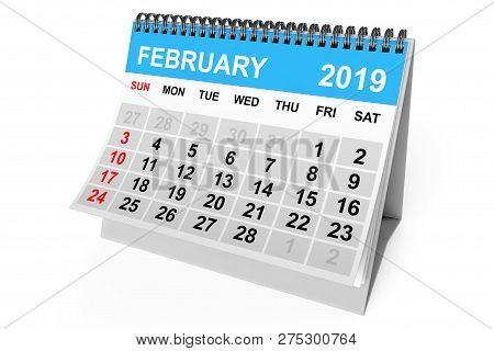 2019 Year Calendar. February Calendar On A White Background. 3d Rendering