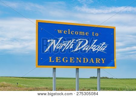 Mclaughlin, Nd - July 9, 2018: North Dakota Welcome Sign Along The Highway At The State Border