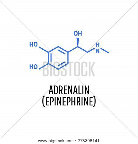 Adrenaline (adrenalin, epinephrine) molecule isolated on white background.  Vector icon. poster