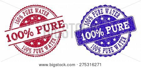 Grunge 100 Percent Pure Water Seal Stamps In Blue And Red Colors. Stamps Have Distress Surface. Vect