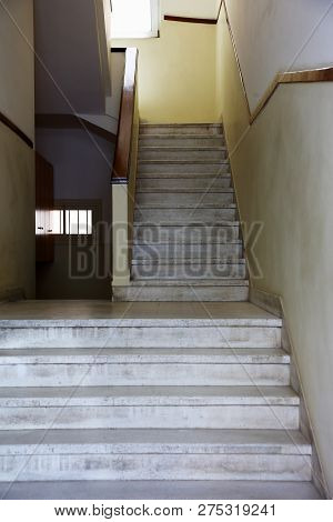 Stone Stairs Between The Floors Of The Building