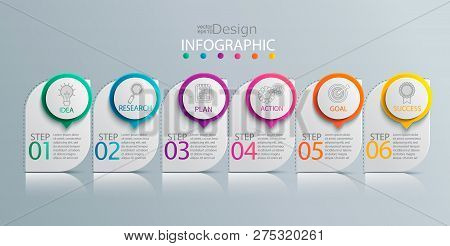 Paper Infographic Template With 6 Options For Presentation And Data Visualization. Business Process