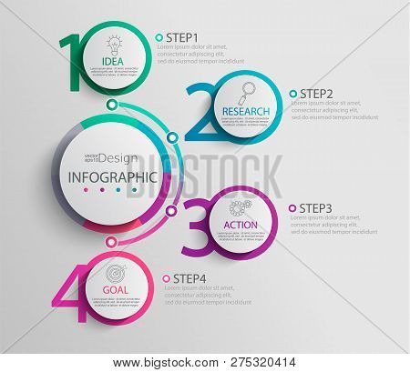 Paper Infographic Template With 4 Round Circle Options For Presentation And Data Visualization. Busi