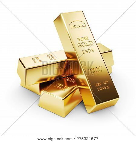 Group Of Gold Bars Isolated On White Background 3D