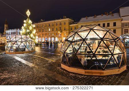 Vilnius - December 23: Christmas Tree And Christmas Market In Vilnius Old Town On December 23, 2018