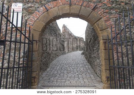 Bolkow, Poland, 6 December 2018: Entrance Gate To The Bolkow Castle In Lower Silesia In Poland