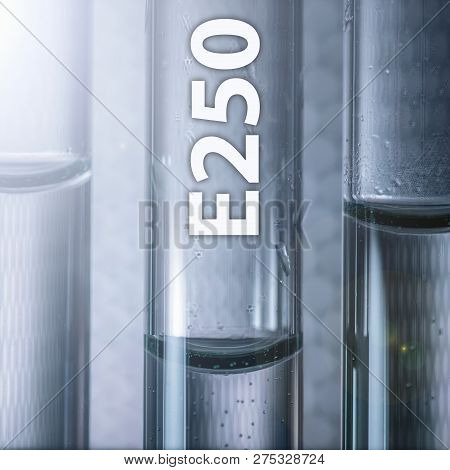 Dangerous Food Additive Sodium Nitrite E250 In A Medical Test Tube