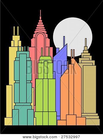 illustration of cityscape made with colorful tall buildings