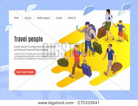 Travel People Landing Page With Text Information And Isometric Vector Illustration Of Tardy Passenge