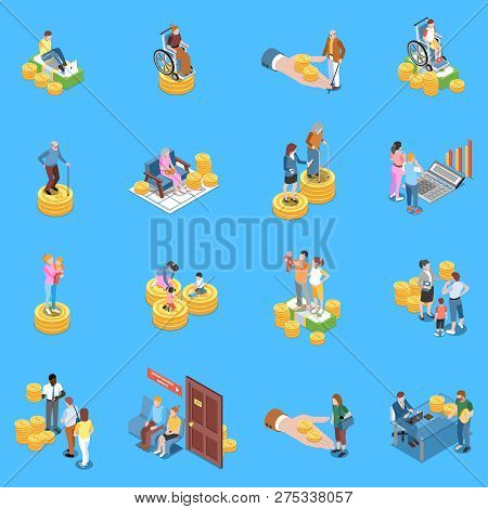 Social Security Unemployment Benefits Unconditional Income Isometric Icons Collection With Isolated