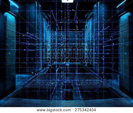 Digital Binary Code Matrix Background - 3d Rendering Of A Scientific Technology Data Binary Code Net