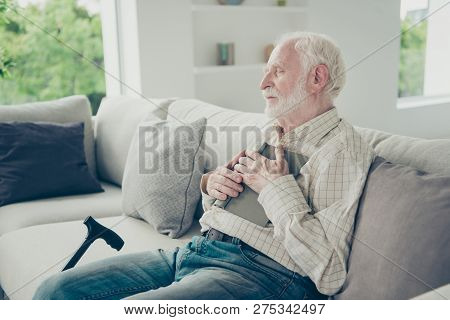 Profile Side View Portrait Of Nice Peaceful Dreamy Stylish Old Man Wearing Checked Shirt Sitting On