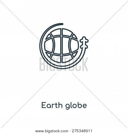 Earth Globe Icon In Trendy Design Style. Earth Globe Icon Isolated On White Background. Earth Globe