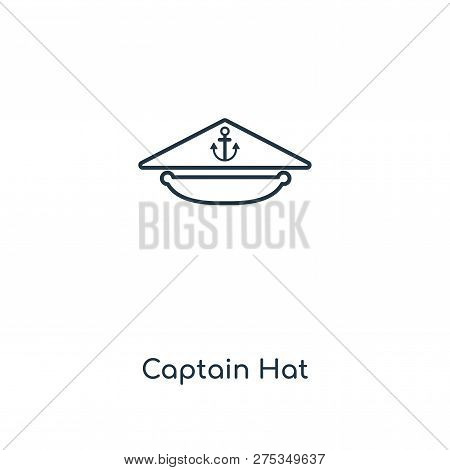 d63f4050d43 Captain Hat Icon In Trendy Design Style. Captain Hat Icon Isolated On White  Background.