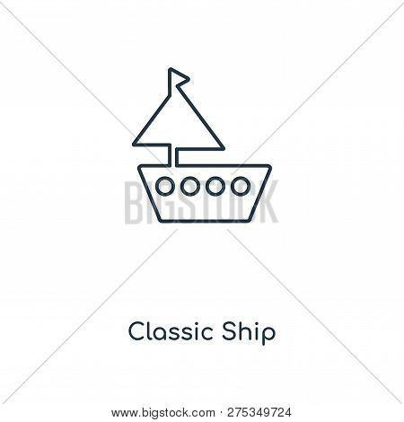 Classic Ship Icon In Trendy Design Style. Classic Ship Icon Isolated On White Background. Classic Sh