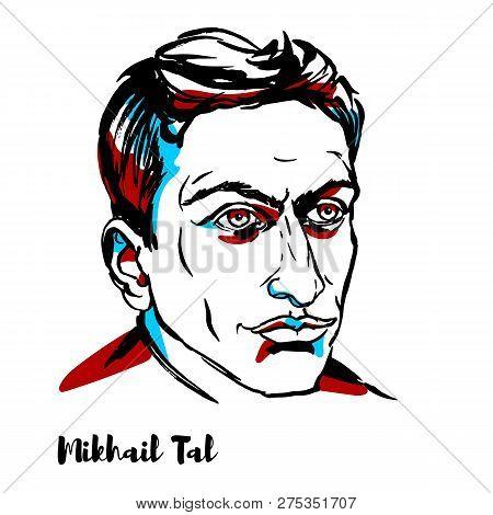 China, Chenghai - December 17, 2018: Mikhail Tal Engraved Vector Portrait With Ink Contours. Soviet