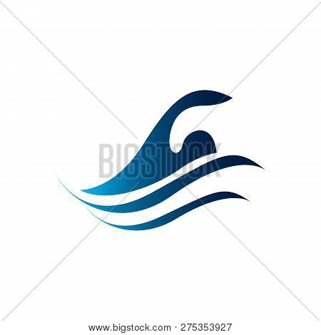 Swim Pool Swimming Pool Icon. Human Is Swimming, Abstract Blue Illustration On White Background.