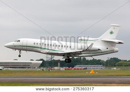 Farnborough, Uk - July 20, 2014: Dassault Falcon 7x (m-celt) Private Jet, Owned By Dermot Desmond, B