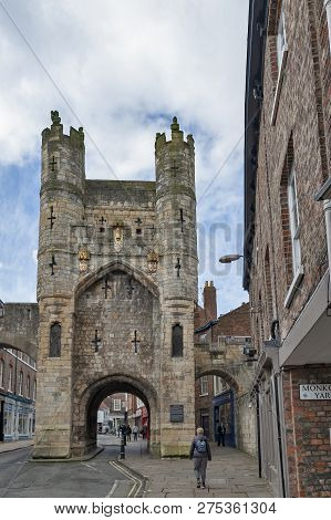 York, England - April 2018: Monk Bar, Main Gatehouses Or Bars Of York City Walls, (bar Walls Or Roma