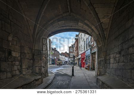 York, England - April 2018: Thoroughfare Under Monk Bar, Main Gatehouses Or Bars Of York City Walls,