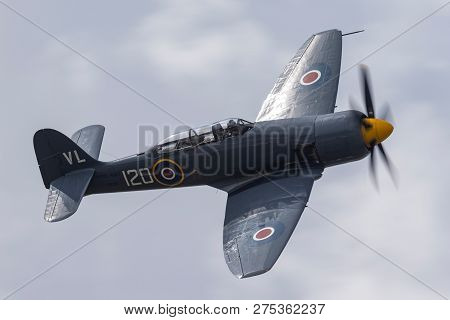Farnborough, Uk - July 21, 2014: Hawker Sea Fury T.20 G-rnhf Of The Royal Navy Fleet Air Arm Histori
