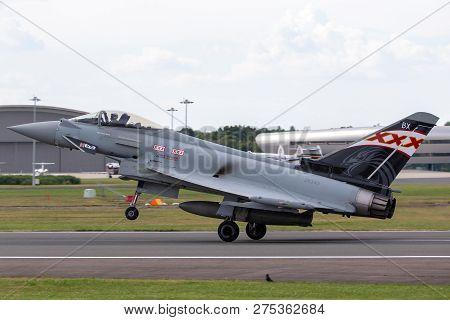 Farnborough, Uk - July 21, 2014: Royal Air Force (raf) Eurofighter Ef-2000 Typhoon Fgr4 Zk343 From N