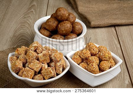 Gajak Or Tilgul Or Tilgud A Special Indian Sweet Made From Sesame And Jaggery And Serve At The Occas