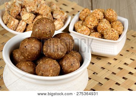 Gajak Or Tilgul Or Tilgud A Special Indian Sweet Made From Sesame And Jaggery  And Serve At The Occa