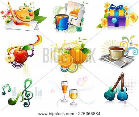 Leisure activity and refreshment icon set