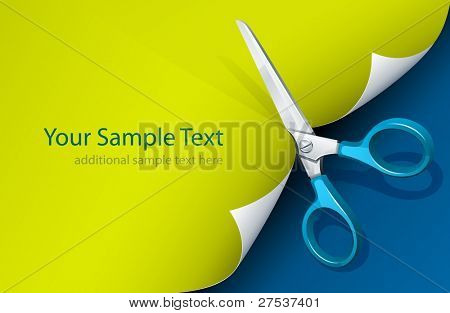 scissors cutting paper vector illustration