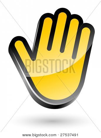 gesticulate hand stop sign vector illustration isolated on white background