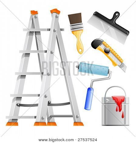 set painter tools vector illustration isolated on white background