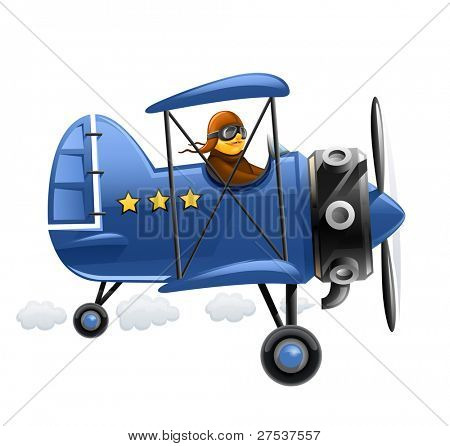 blue airplane with pilot vector illustration isolated on white background