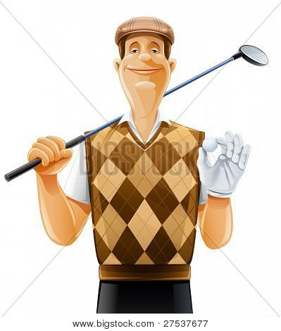 golf player with club and ball vector illustration isolated on white background