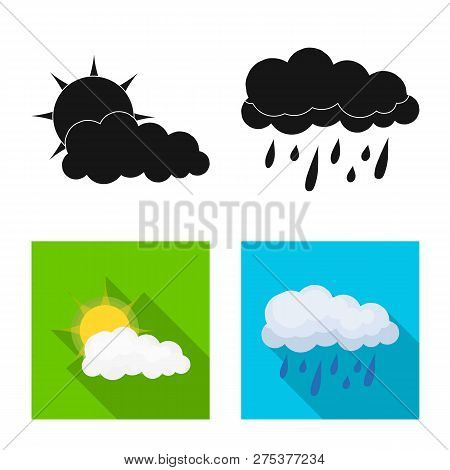 Vector Design Of Weather And Climate Symbol. Collection Of Weather And Cloud Stock Vector Illustrati