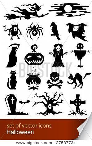 Halloween set ilustración de vector icono aislado sobre fondo blanco