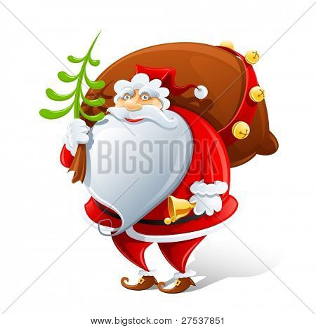 Santa Claus with sack and bell vector illustration isolated on white background