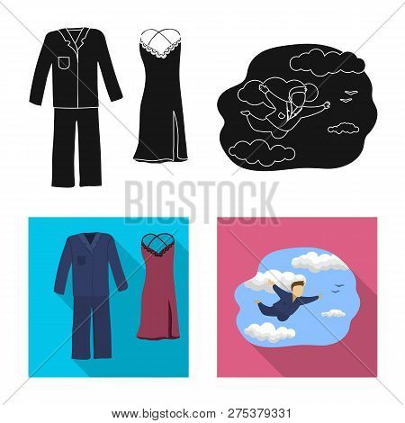 Vector Illustration Of Dreams And Night Symbol. Collection Of Dreams And Bedroom Stock Vector Illust