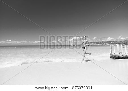 Refreshed And Joyful. Girl Bikini Run Wave Azure Ocean Beach. Vacation Luxury Tropic Ocean Beach Res