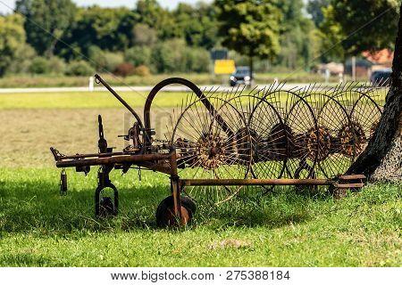 Old Agricultural Machinery For Haymaking, Rake Tedders, Wheel-finger Rake