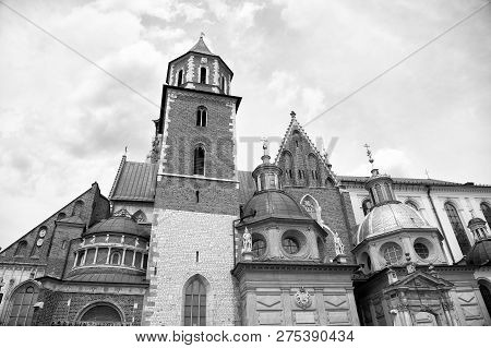 Old City Architecture Concept. Tower Belfry With Steeples In Krakow. Architectural Heritage. Old Or