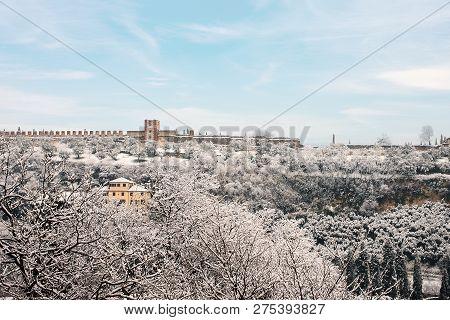 City Wall Of Verona City In Winter, Unesco World Heritage Site. Veneto, Italy, Europe